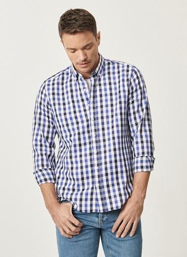AC&Co / Altınyıldız Classics Tailored Slim Fit Dar Kesim Düğmeli Yaka Kareli Gömlek 4A2021100180 Lacivert